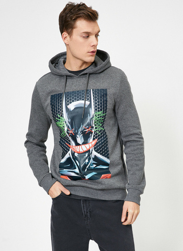 Koton Batman Lisansli Baskılı Kapüşonlu Sweatshirt Gri